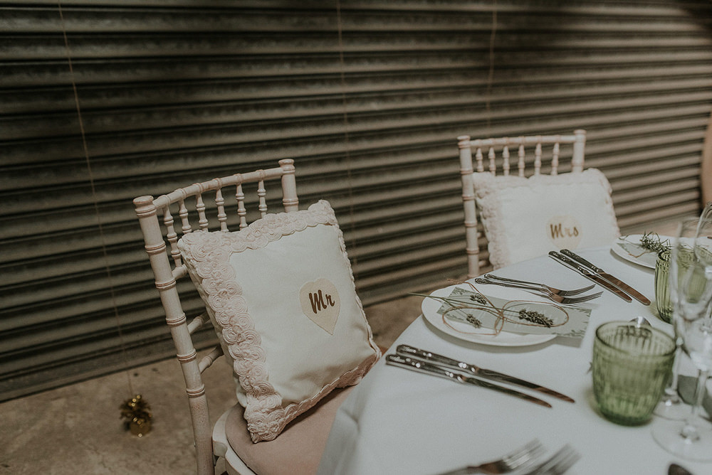 Cushions Chairs Mr Mrs Captains Wood Barn Wedding Megan Elle Photography