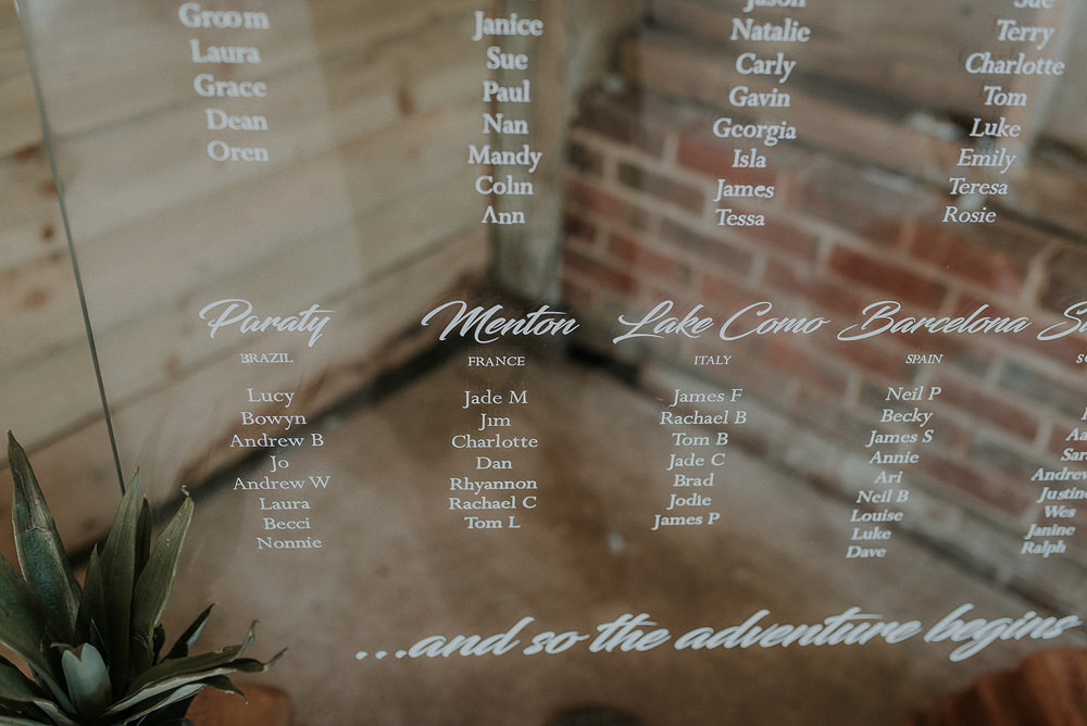 Clear Acrylic Perspex Sign Signage Seating Plan Table Chart Calligraphy Captains Wood Barn Wedding Megan Elle Photography