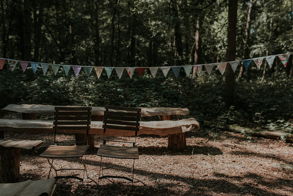 Woodland Ceremony Seating Bunting Captains Wood Barn Wedding Megan Elle Photography