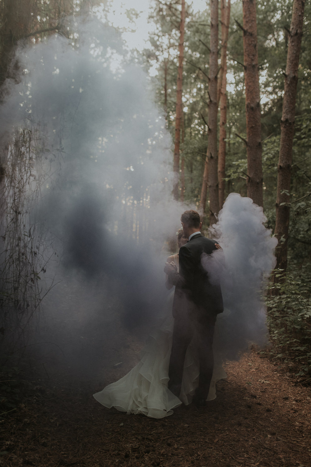 Captains Wood Barn Wedding Megan Elle Photography Smoke Bomb
