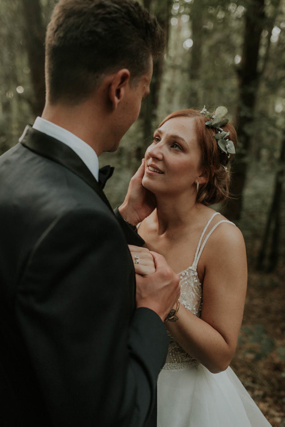 Bride Bridal Make Up Flower Crown Wreath Eucalyptus Hair Up Do Style Captains Wood Barn Wedding Megan Elle Photography