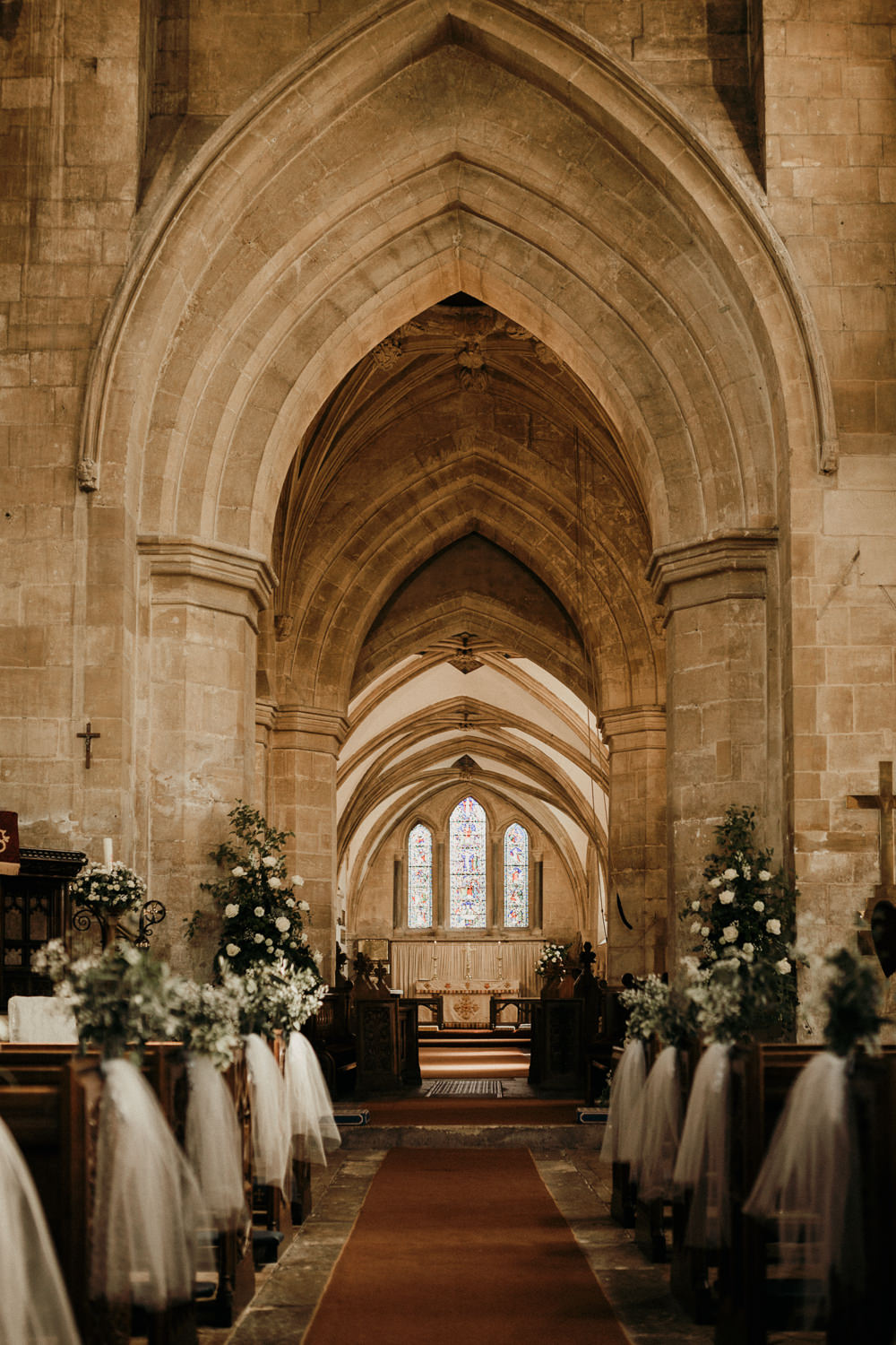 Aisle Pew Ends Voile Greenery White Flowers Floral Casterley Barn Wedding Stuart Dudleston Photography