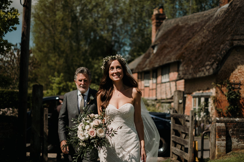 Bride Bridal Sweetheart Fit and Flare Dress Gown Greenery Wax Flower Crown Blanket Rose Bouquet Veil Casterley Barn Wedding Stuart Dudleston Photography