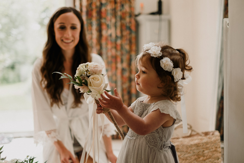 Flower Girl Crown Wand Lace Casterley Barn Wedding Stuart Dudleston Photography