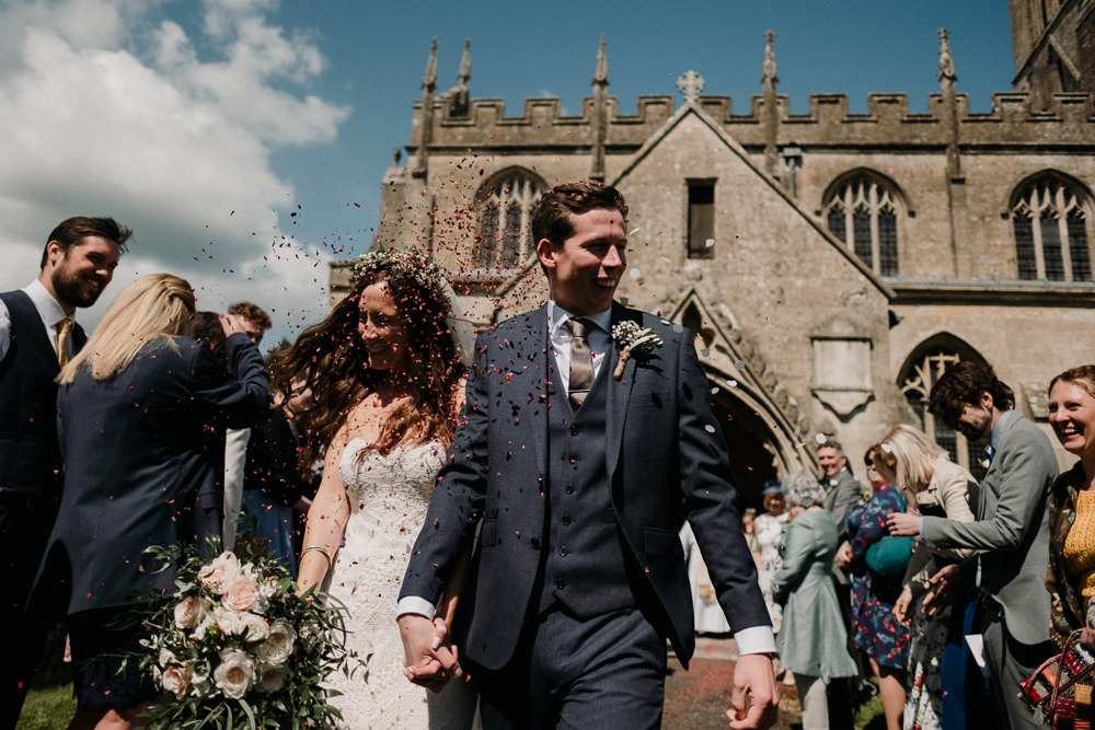 Bride Bridal Sweetheart Fit and Flare Dress Gown Greenery Wax Flower Crown Blanket Navy Three Piece Suit Groom Confetti Rose Bouquet Casterley Barn Wedding Stuart Dudleston Photography