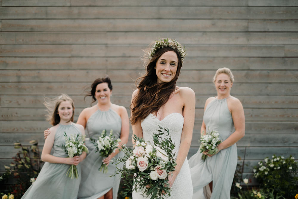 Bride Bridal Sweetheart Fit and Flare Dress Gown Greenery Wax Flower Crown Sage Halterneck Dress Casterley Barn Wedding Stuart Dudleston Photography