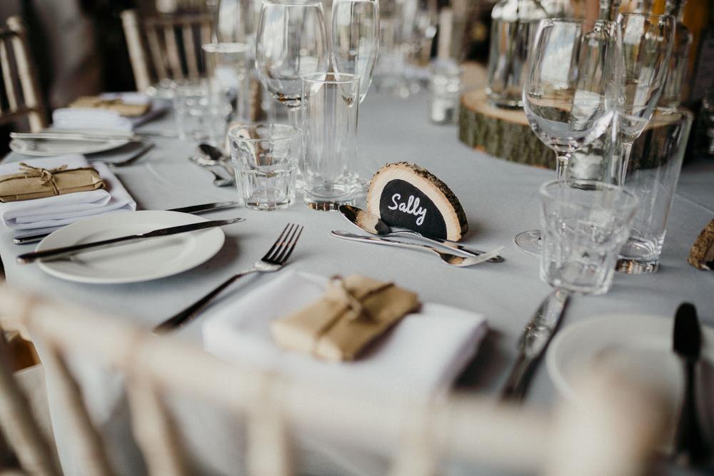 Wood Slice Place Card Name Casterley Barn Wedding Stuart Dudleston Photography