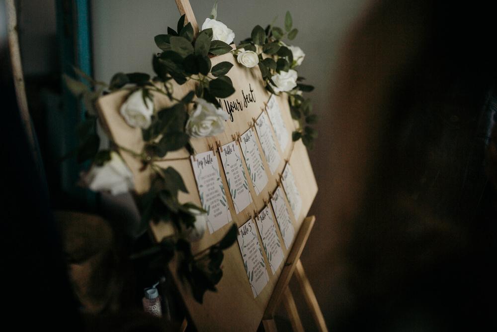 Table Plan Greenery White Flower Peg Twine Easel Casterley Barn Wedding Stuart Dudleston Photography