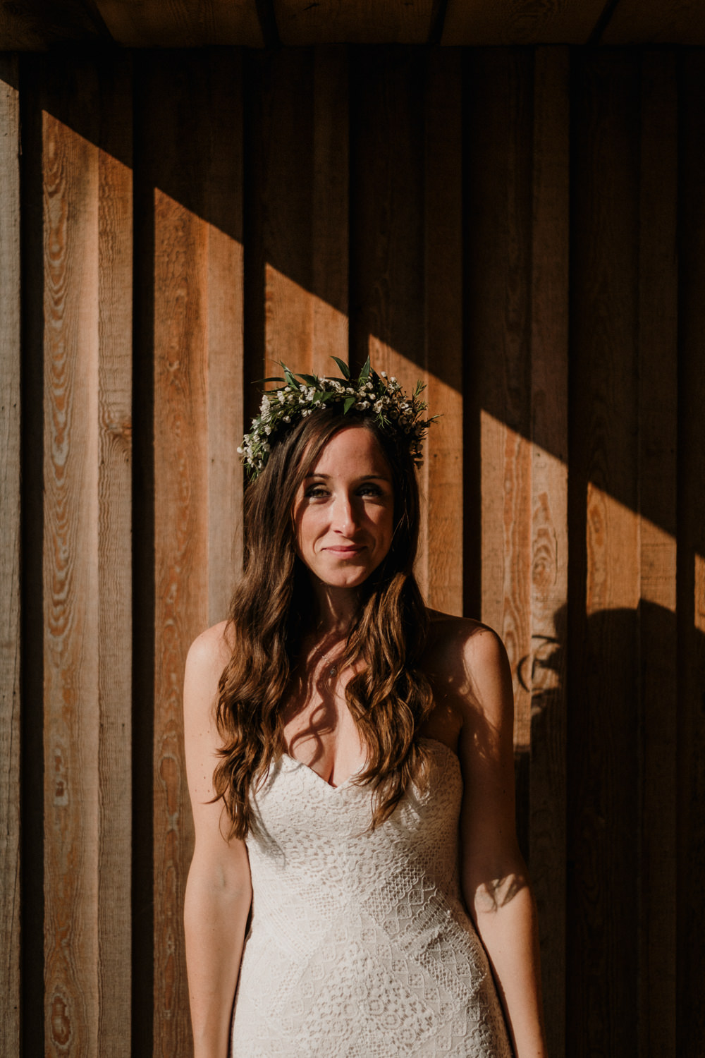 Bride Bridal Sweetheart Fit and Flare Dress Gown Greenery Wax Flower Crown Casterley Barn Wedding Stuart Dudleston Photography