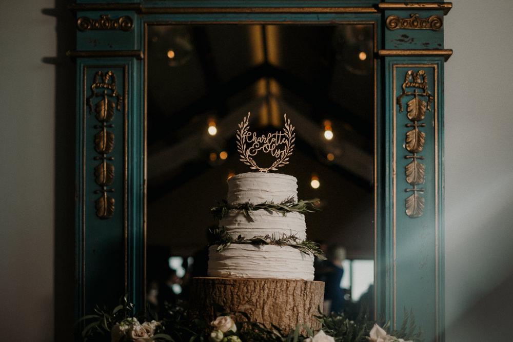 Cake Buttercream Log Slice Laser Cut Topper Rosemary Casterley Barn Wedding Stuart Dudleston Photography