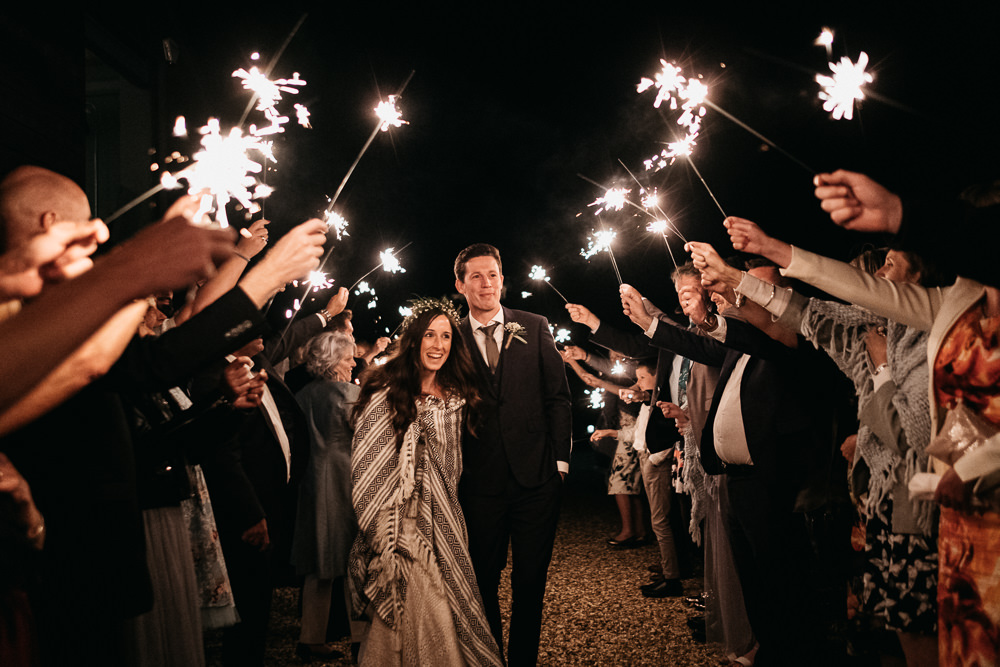 Bride Bridal Sweetheart Fit and Flare Dress Gown Greenery Wax Flower Crown Blanket Sparkler Send OffCasterley Barn Wedding Stuart Dudleston Photography