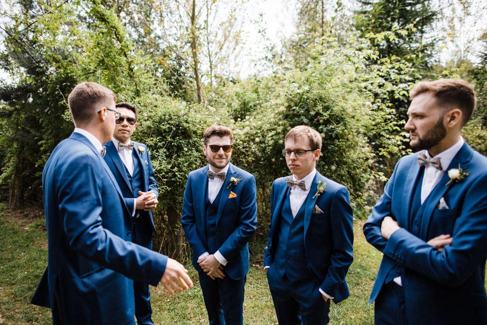 Groom Groomsmen Mrs Bow Tie Three Piece Suit Waistcoat Chaucer Barn Wedding Through The Woods We Ran