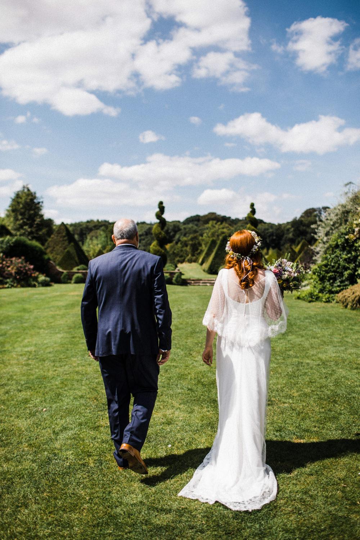Bride Bridal Boho Cape Wedding Dress Gown Flower Crown Chaucer Barn Wedding Through The Woods We Ran