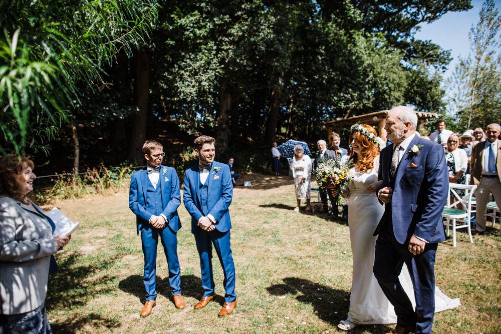 Bride Bridal Boho Cape Wedding Dress Gown Flower Crown Mrs Bow Tie Three Piece Suit Groom Chaucer Barn Wedding Through The Woods We Ran
