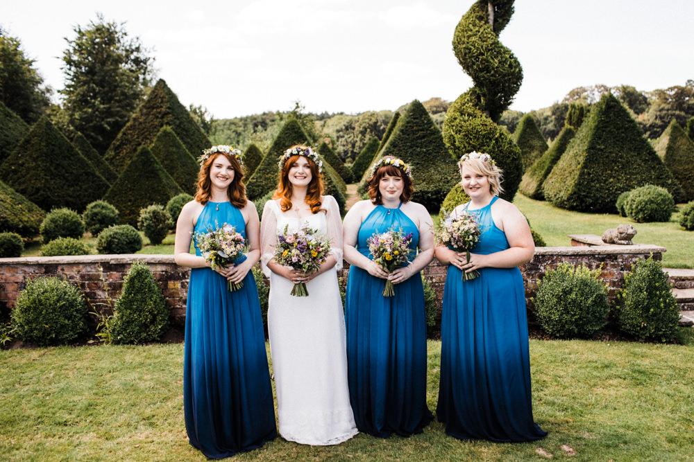 Bride Bridal Boho Cape Wedding Dress Gown Flower Crown Blue Halterneck Ombre Bridesmaids Chaucer Barn Wedding Through The Woods We Ran