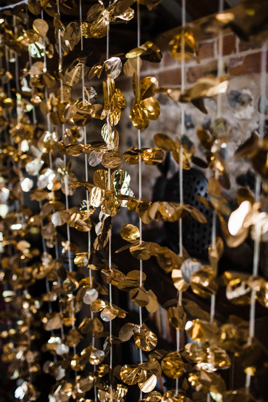 Gold Foil Curtain Decor Chaucer Barn Wedding Through The Woods We Ran