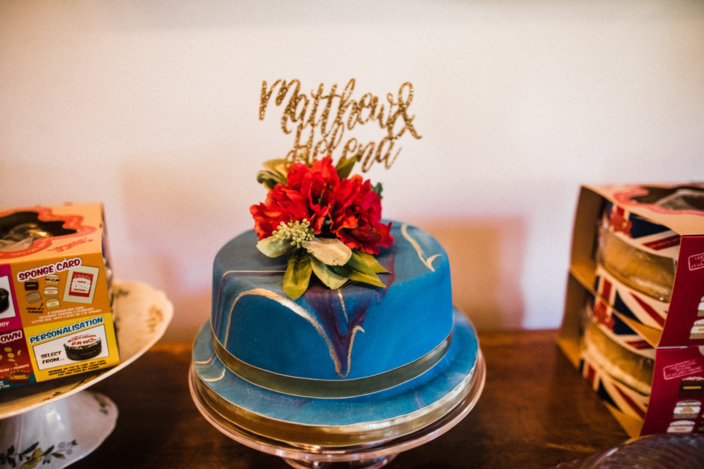 Blue Marble Cake Glitter Topper Flowers Floral Chaucer Barn Wedding Through The Woods We Ran