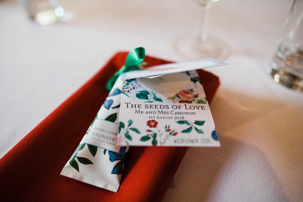 Seeds of Love Favour Hand Cream Place Setting Chaucer Barn Wedding Through The Woods We Ran