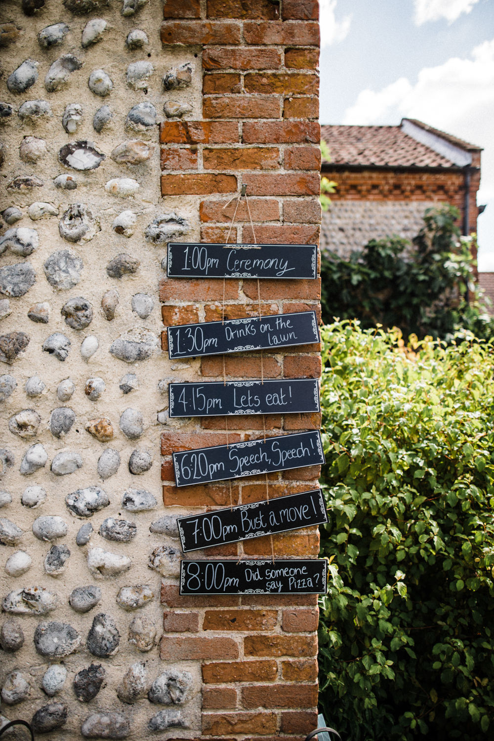 Chalk Board Sign Post Timings Order of Day Chaucer Barn Wedding Through The Woods We Ran