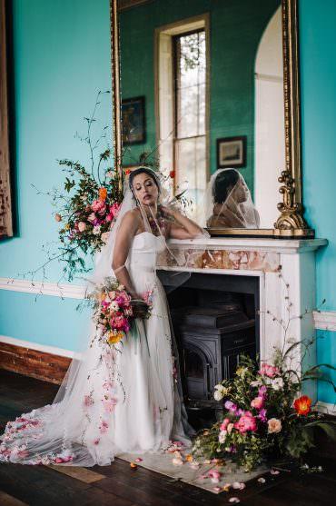 Coral Floral Wedding Ideas Birgitta Zoutman Photography Fireplace Mantle Piece Flowers Arrangement Installation