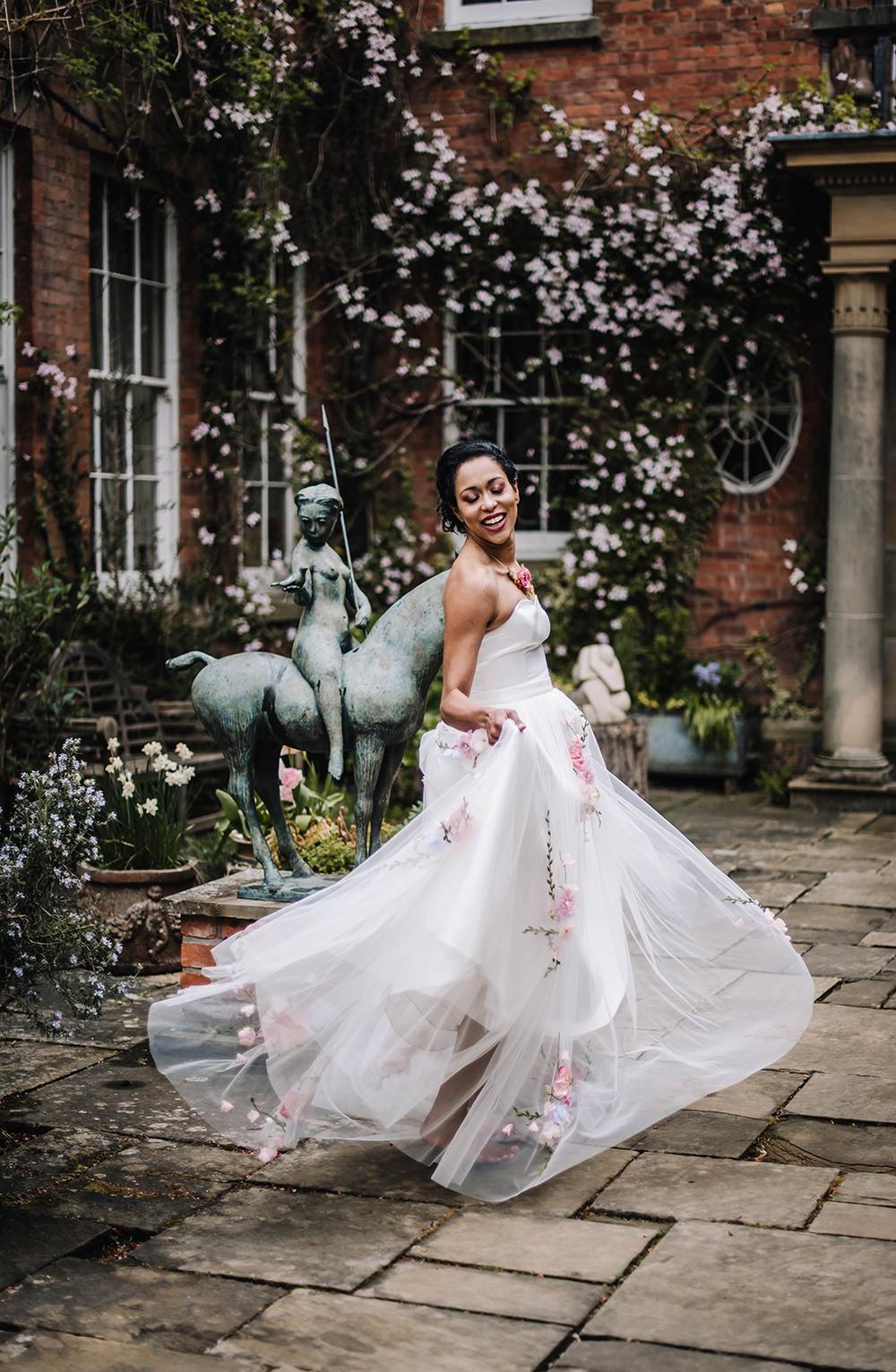 Bride Bridal Dress Gown Veil Embroidered Flowers Strapless Coral Floral Wedding Ideas Birgitta Zoutman Photography