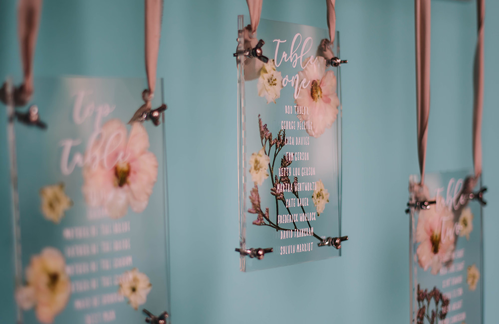 Seating Plan Table Chart Flowers Clear Perspex Acrylic Glass Coral Floral Wedding Ideas Birgitta Zoutman Photography