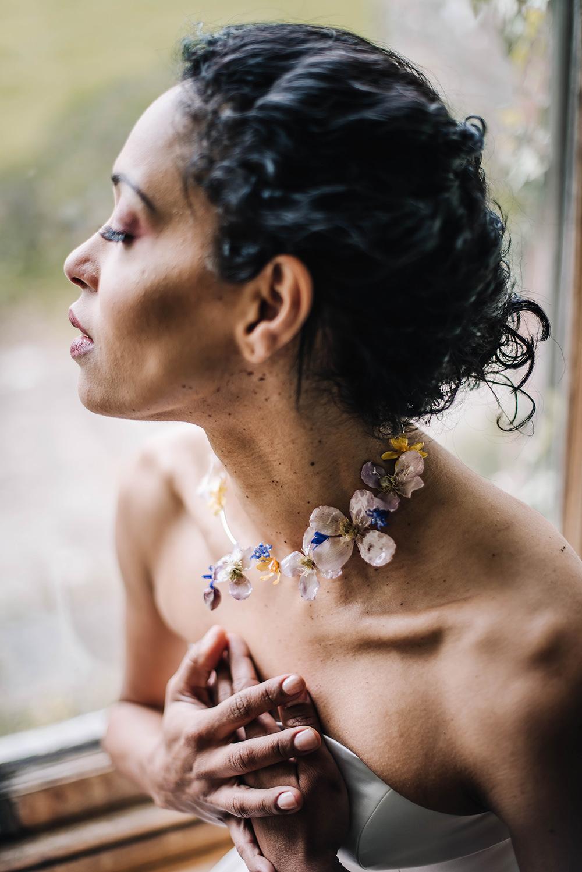 Flower Necklace Bride Bridal Accessory Jewellery Coral Floral Wedding Ideas Birgitta Zoutman Photography