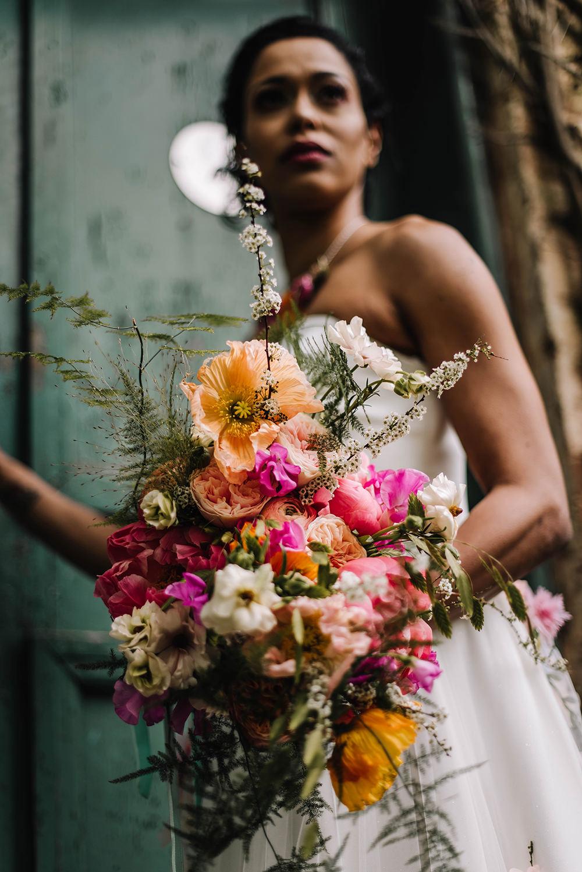Bouquet Flowers Bride Bridal Pink Poppy Rose Foliage Greenery Orange Coral Floral Wedding Ideas Birgitta Zoutman Photography