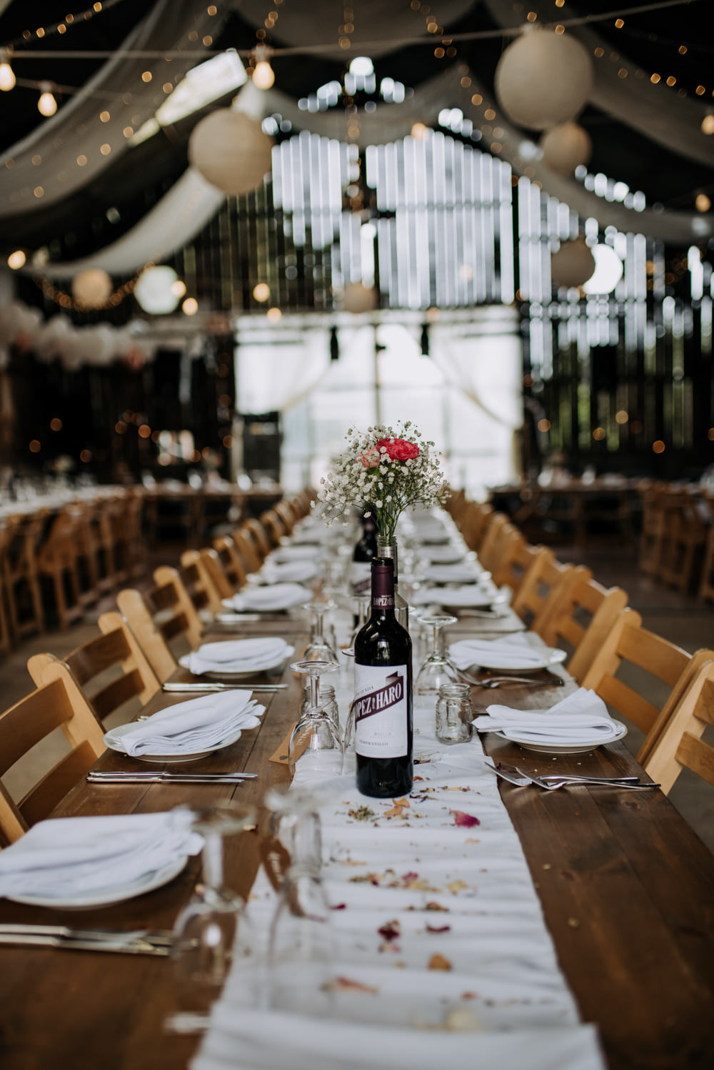 Long Tables Barn Lanterns Decor Decoration Bottle Flowers Petals Deepdale Farm Wedding Kazooieloki Photography