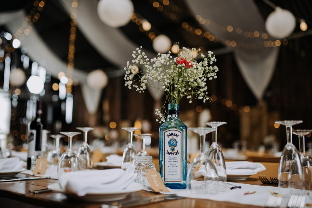 Gin Bottle Flowers Decor Centrepiece Deepdale Farm Wedding Kazooieloki Photography