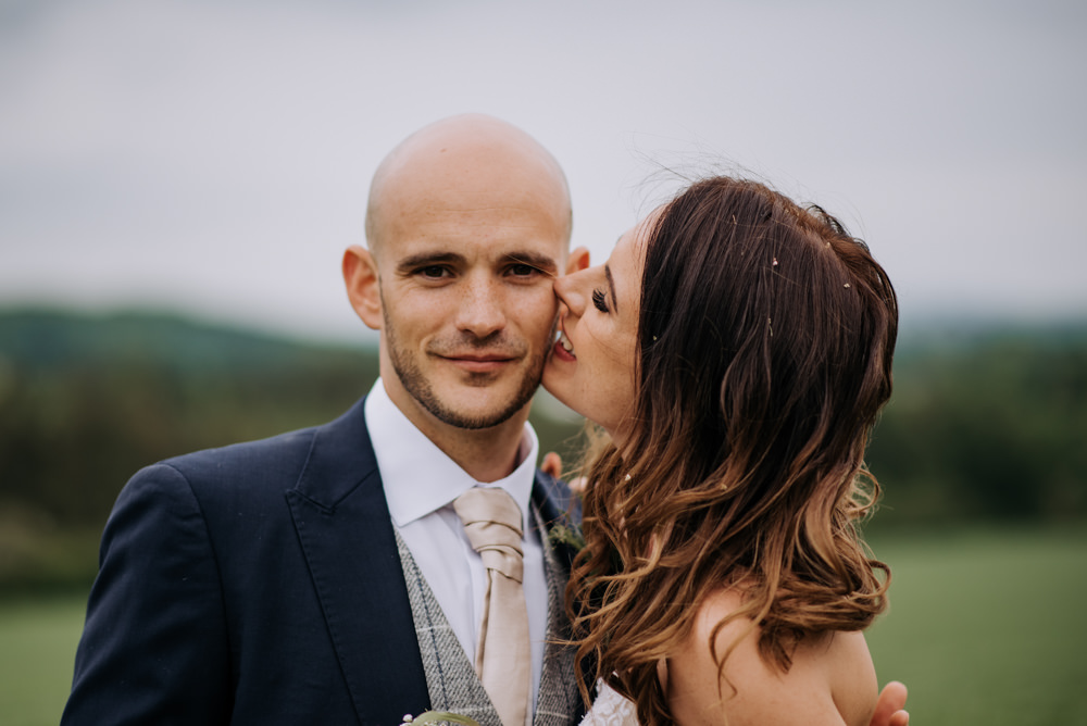 Groom Suit Navy Grey Tweed Waistcoat Deepdale Farm Wedding Kazooieloki Photography