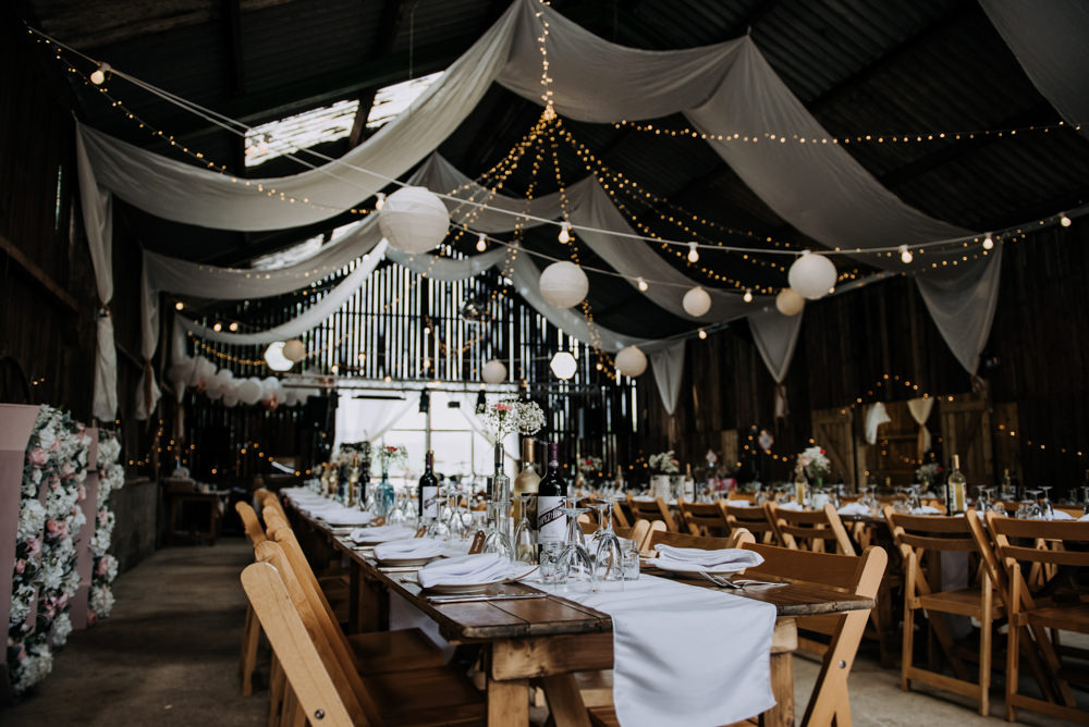 Barn Lanterns Drapes Decor Decoration Fabric Deepdale Farm Wedding Kazooieloki Photography
