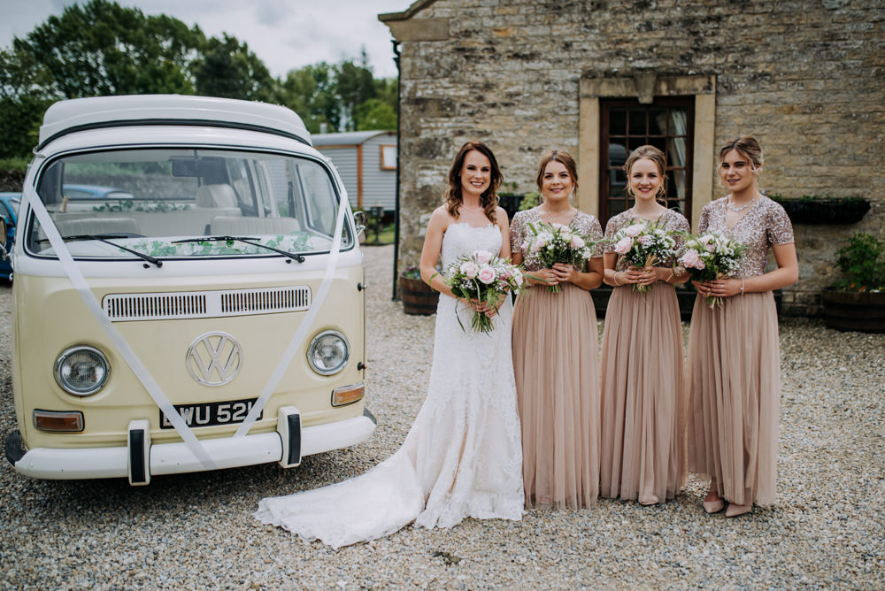 Bridesmaids Bridesmaid Dress Dresses Long Maxi Sequin Tulle Pink VW Campervan Deepdale Farm Wedding Kazooieloki Photography
