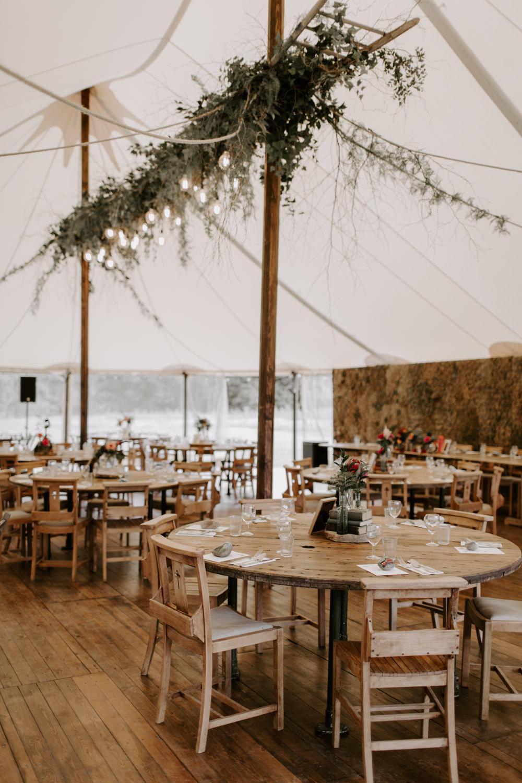 Pole Tent Marquee Rustic Decor Foliage Greenery Suspended Ceiling Festoon Lights Edison Bulbs Dreys Wedding Grace & Mitch Photo & Film