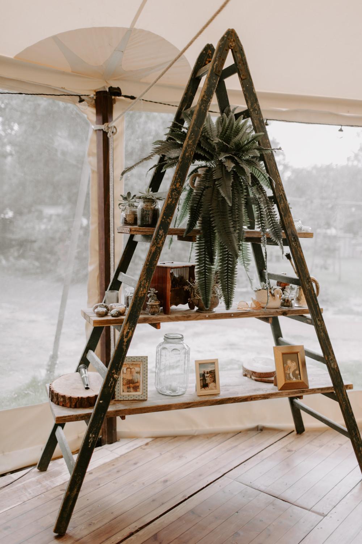 Wooden Ladder Decor Flowers Fern House Plant Dreys Wedding Grace & Mitch Photo & Film