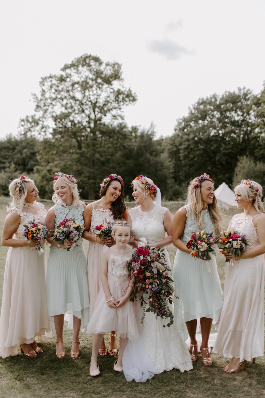Bridesmaids Bridesmaid Dress Dresses Flower Crowns Pastel Pink Green Dreys Wedding Grace & Mitch Photo & Film