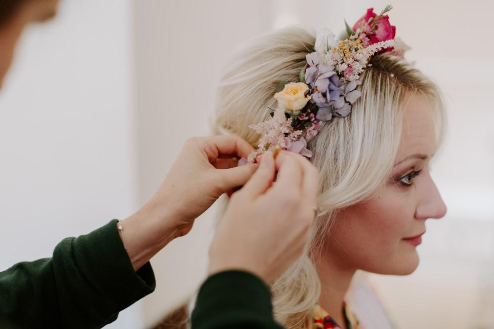 Bridesmaid Hair Style Flowers Flower Crown Dreys Wedding Grace & Mitch Photo & Film