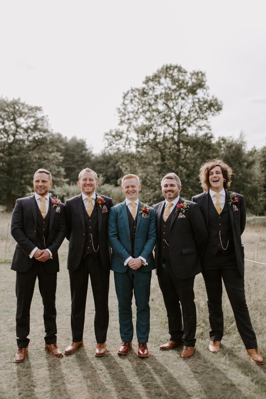 Groom Groomsmen Suit Tan Shoes Mustard Yellow Ties Dreys Wedding Grace & Mitch Photo & Film