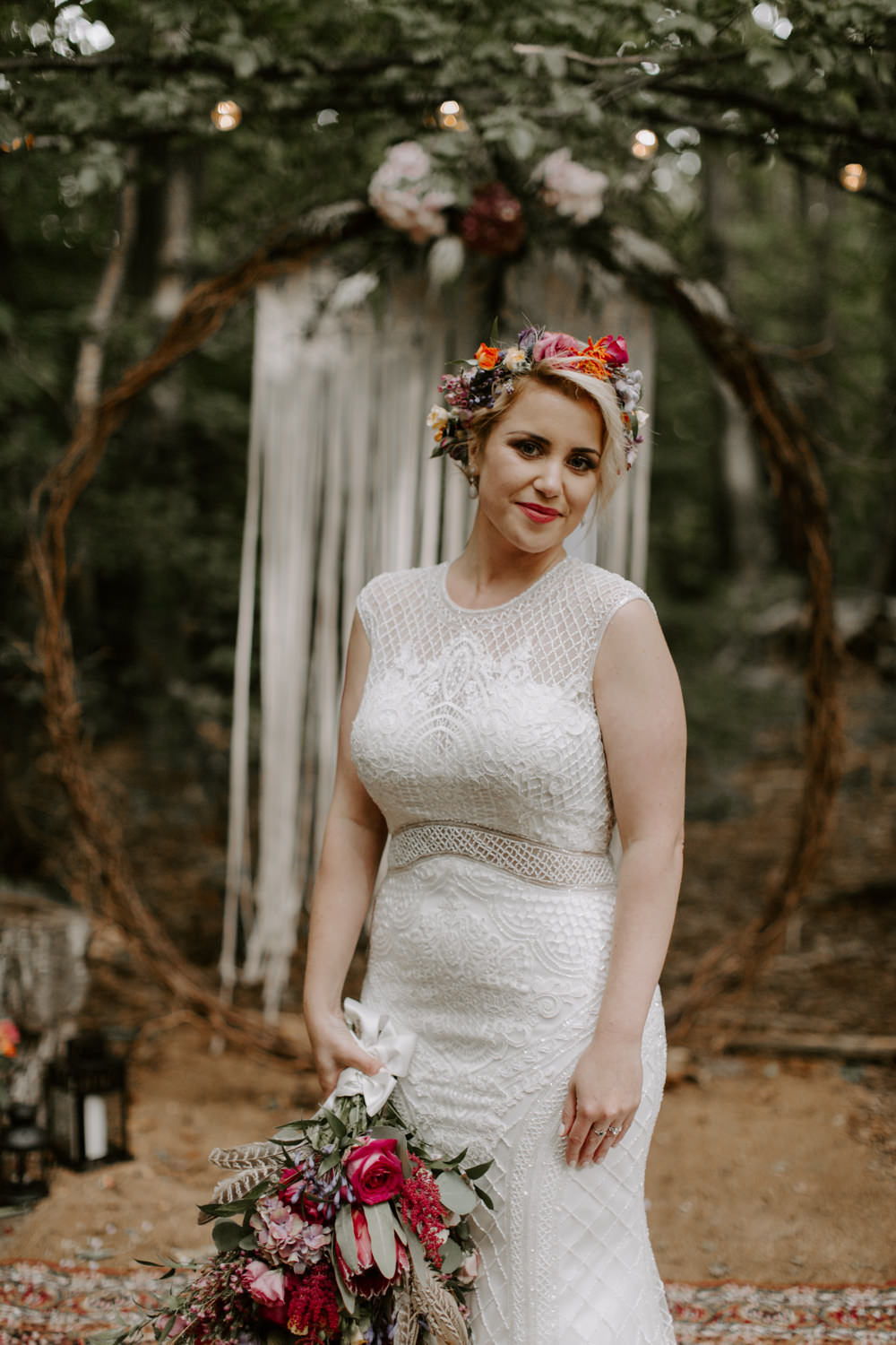 Bride Bridal Dress Gown Adrianna Papell Lace Fishtail Fit and Flare Dreys Wedding Grace & Mitch Photo & Film