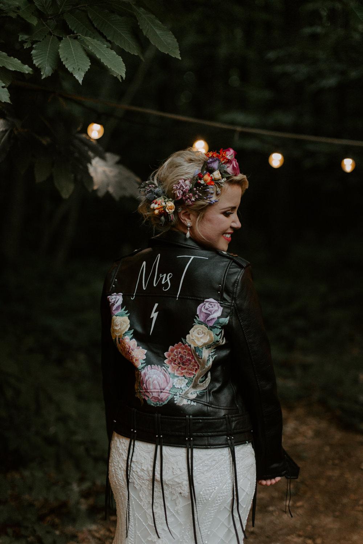 Leather Jacket Bride Bridal Tassel Fringe Personalised Painted Dreys Wedding Grace & Mitch Photo & Film
