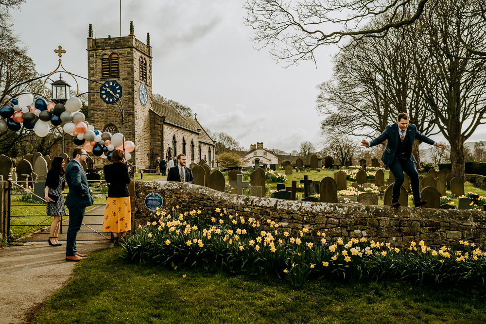 Lychgate Balloon Garland East Riddlesden Hall Wedding M and G Photographic