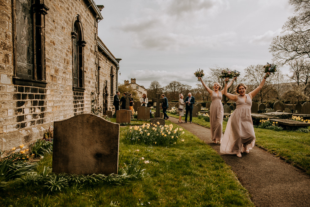 Blush Bridesmaids East Riddlesden Hall Wedding M and G Photographic