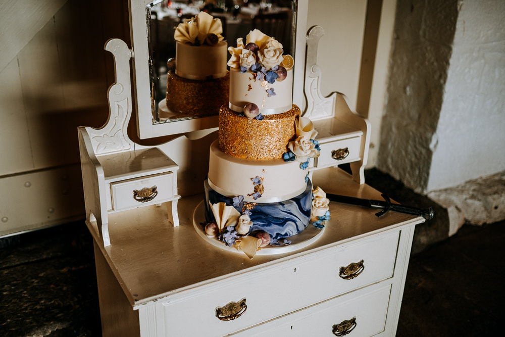 Four Tier Cake Gold Glitter Marble East Riddlesden Hall Wedding M and G Photographic