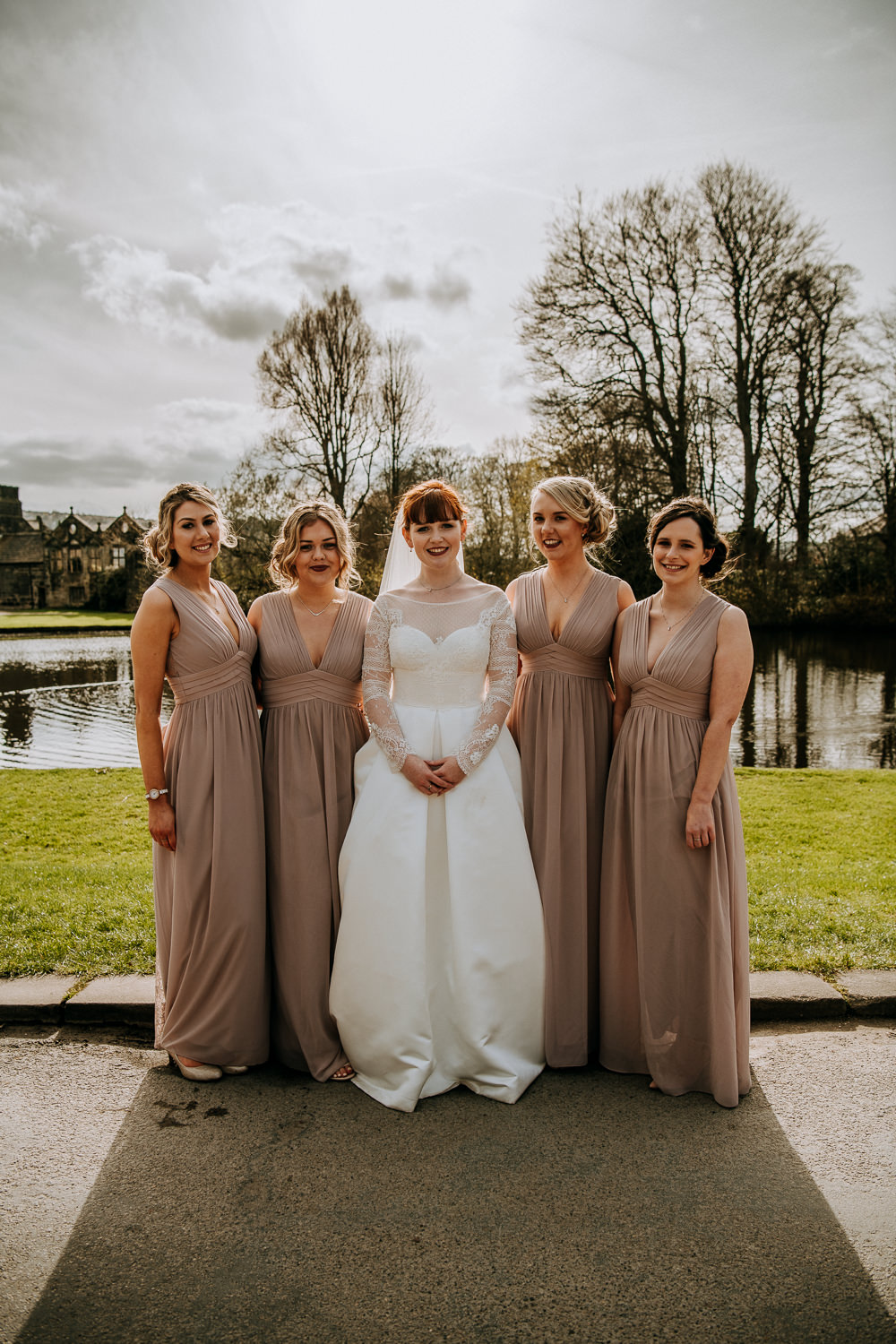 Bride Bridal Full Skirt Lace Long Sleeve Dress Gown V Neck Grecian Blush Bridesmaids Veil East Riddlesden Hall Wedding M and G Photographic