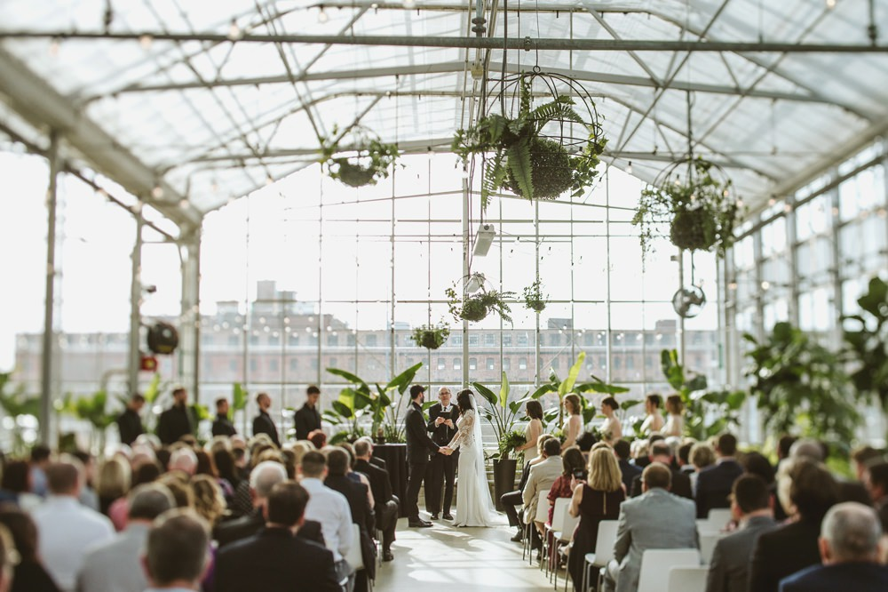 Ceremony Greenery Foliage Botanical Aisle Greenhouse Michigan Wedding Jean Smith Photography
