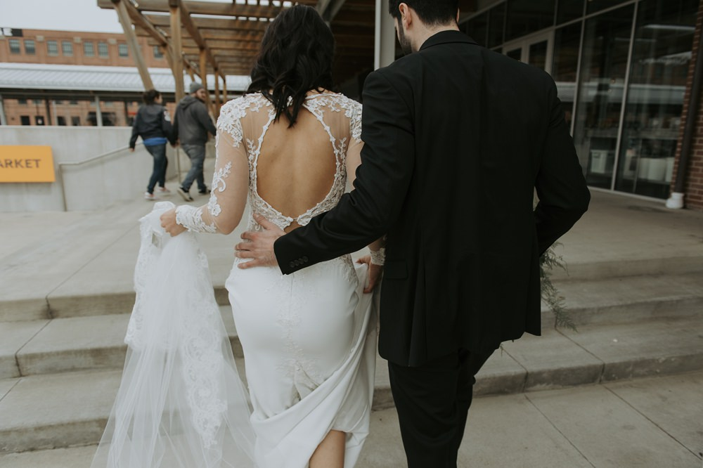 Bride Bridal Dress Gown Lace Sleeves Open Back Greenhouse Michigan Wedding Jean Smith Photography