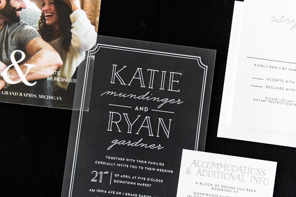 Stationery Invites Invitations Monochrome Greenhouse Michigan Wedding Jean Smith Photography