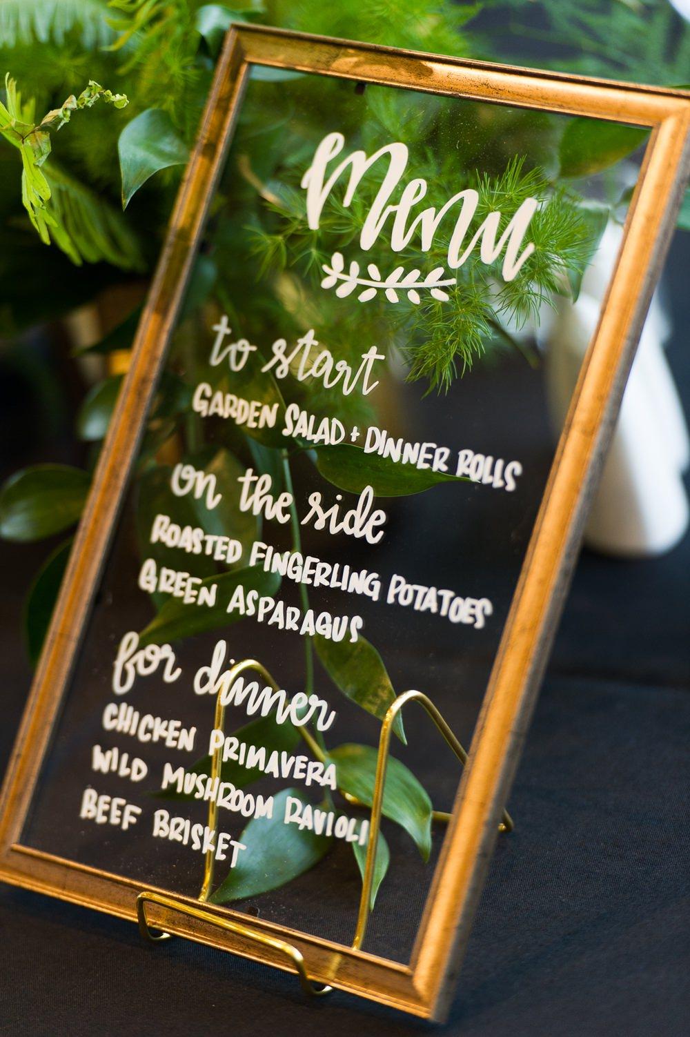 Mirror Menu Calligraphy Sign Greenhouse Michigan Wedding Jean Smith Photography