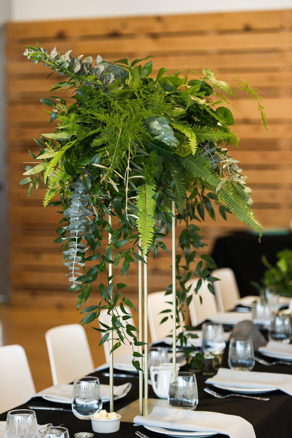 Centrepiece Table Decor Tall Greenery Foliage Fern Botanical Greenhouse Michigan Wedding Jean Smith Photography