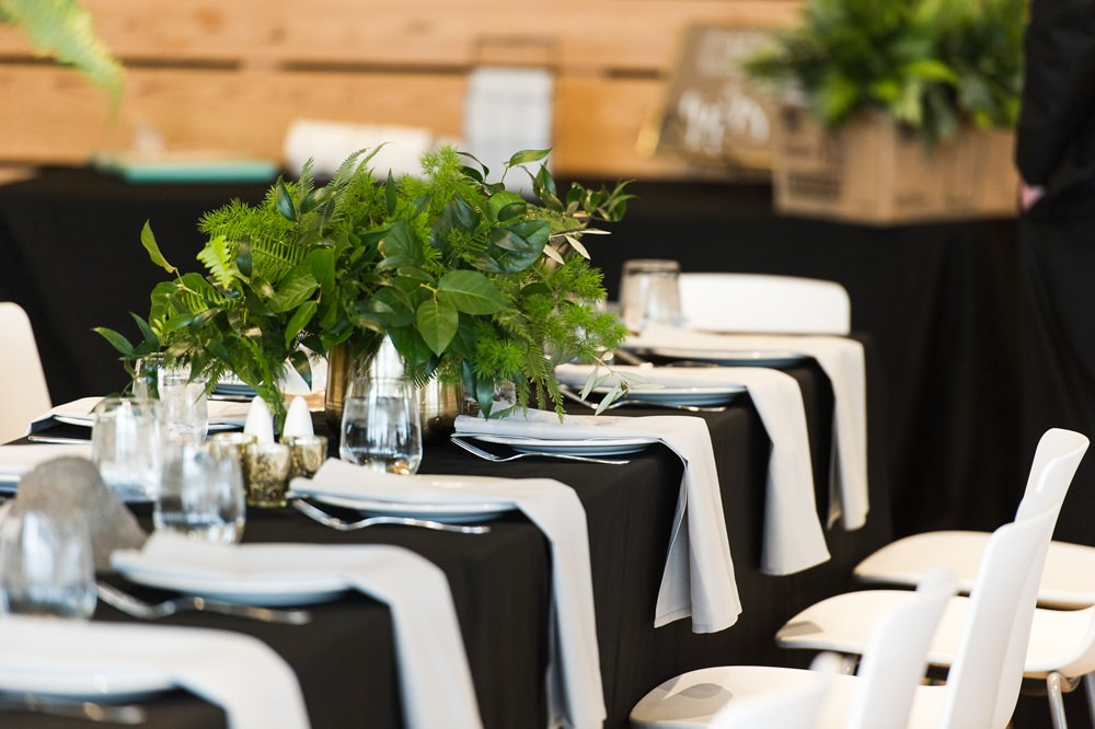 Monochrome Tables Greenery Foliage Botanical Flowers Decor Greenhouse Michigan Wedding Jean Smith Photography